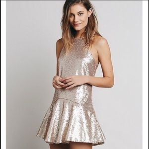 Free People Gold Sequin Minidress - Size Small